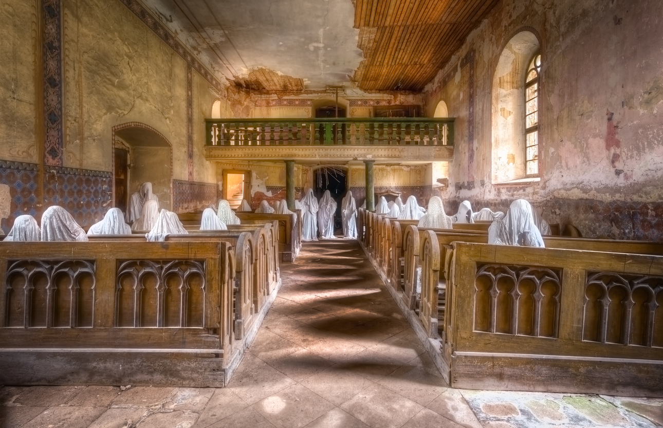 Scary Abandoned Church With Ghostly Figures Urban