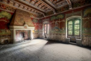 abandoned castle fresco painting